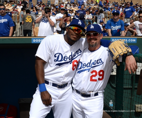 Los Angeles Dodgers Yasiel Puig and Damon Mashore prior to game against the Arizona Diamondbacks  Saturday, March 5, 2016 at Camelback Ranch-Glendale in Phoenix, Arizona.