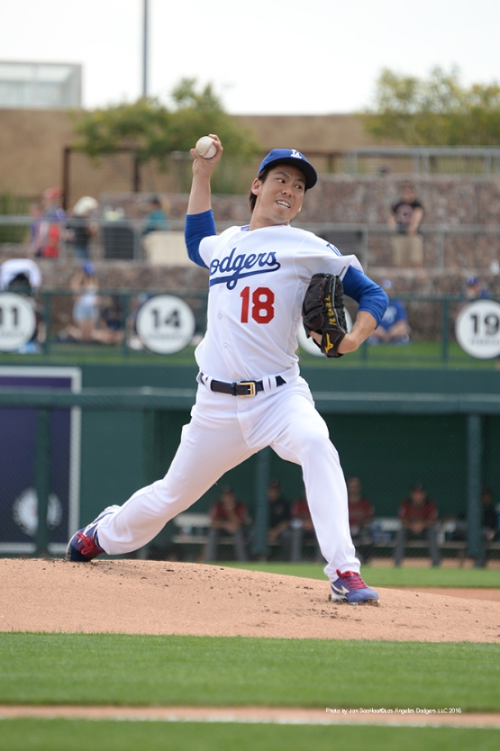 Los Angeles Dodgers Kenta Maeda pitches during game against the Arizona Diamondbacks  Saturday, March 5, 2016 at Camelback Ranch-Glendale in Phoenix, Arizona.
