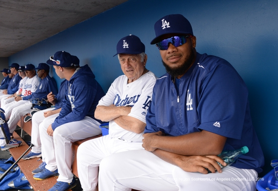 Los Angeles Dodgers Tommy Lasorda and Kenley Jansen during game against the Arizona Diamondbacks  Saturday, March 5, 2016 at Camelback Ranch-Glendale in Phoenix, Arizona.