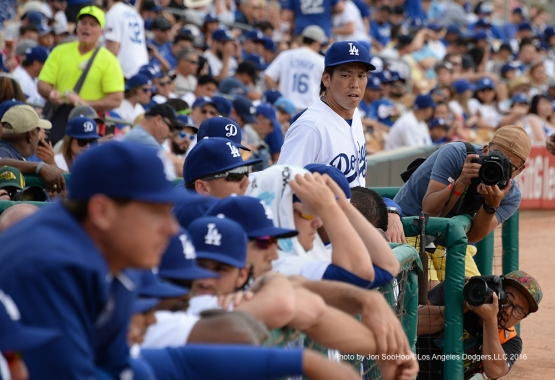 Los Angeles Dodgers Kenta Maeda enters the field to begin the second inning of game against the Arizona Diamondbacks  Saturday, March 5, 2016 at Camelback Ranch-Glendale in Phoenix, Arizona.