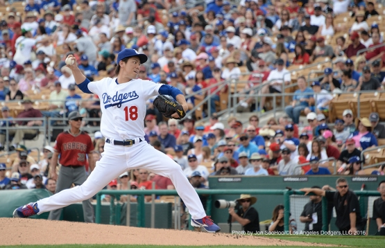 Los Angeles Dodgers Kenta Maeda during game against the Arizona Diamondbacks  Saturday, March 5, 2016 at Camelback Ranch-Glendale in Phoenix, Arizona.