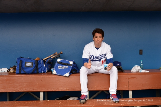 Los Angeles Dodgers Kenta Maeda after scoreless second inning  against the Arizona Diamondbacks  Saturday, March 5, 2016 at Camelback Ranch-Glendale in Phoenix, Arizona.