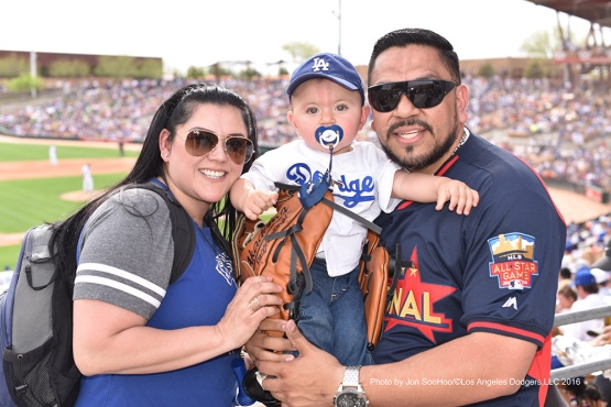 GREAT Los Angeles Dodgers fans during game against the Arizona Diamondbacks  Saturday, March 5, 2016 at Camelback Ranch-Glendale in Phoenix, Arizona.
