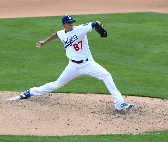 Los Angeles Dodgers Jose De Leon pitches against the Arizona Diamondbacks  Saturday, March 5, 2016 at Camelback Ranch-Glendale in Phoenix, Arizona.
