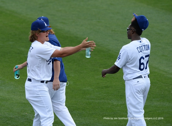 Los Angeles Dodgers Kike Hernandez and Jharel Cotton during game against the Arizona Diamondbacks  Saturday, March 5, 2016 at Camelback Ranch-Glendale in Phoenix, Arizona.