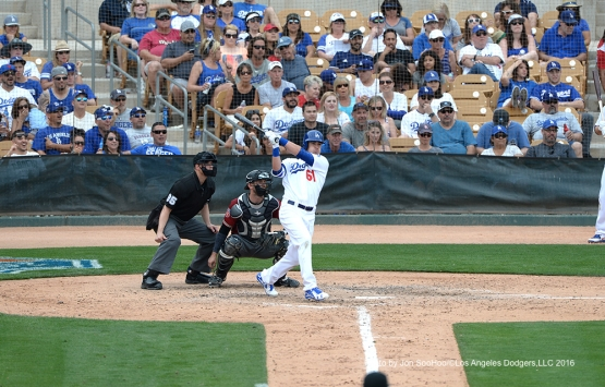 Los Angeles Dodgers Cody Bellinger gets a hit during game against the Arizona Diamondbacks  Saturday, March 5, 2016 at Camelback Ranch-Glendale in Phoenix, Arizona.