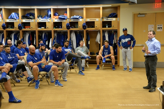 Los Angeles Dodgers Doctor John Plosay addresses the team prior to morning workout Sunday, March 6, 2016 at Camelback Ranch-Glendale in Phoenix, Arizona.