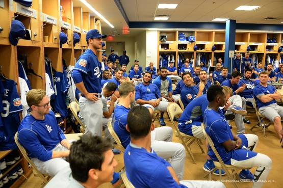 Los Angeles Dodgers Chase De Jong talks to the team prior to morning workout Sunday, March 6, 2016 at Camelback Ranch-Glendale in Phoenix, Arizona.