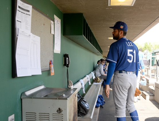 Los Angeles Dodgers pitcher Zach Lee prior to game against the San Francisco Giants Sunday, March 6, 2016 at Scottsdale Stadium in Scottsdale, Arizona.