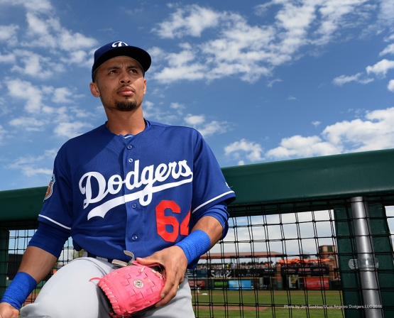 Los Angeles Dodgers Rico Noel signs for fans prior to game against the San Francisco Giants Sunday, March 6, 2016 at Scottsdale Stadium in Scottsdale, Arizona.