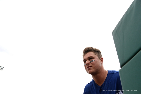 Los Angeles Dodgers Joc Pederson takes the field during game against the San Francisco Giants Sunday, March 6, 2016 at Scottsdale Stadium in Scottsdale, Arizona.