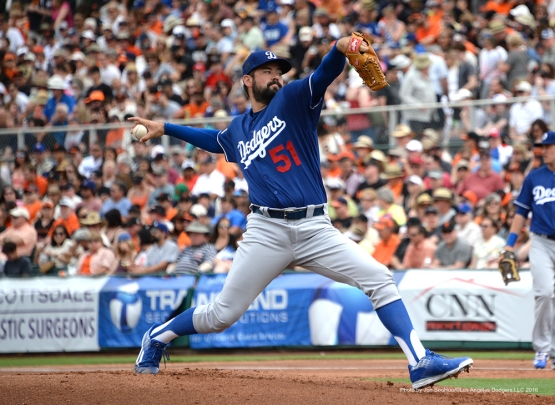 Los Angeles Dodgers Zach Lee pitches during game against the San Francisco Giants Sunday, March 6, 2016 at Scottsdale Stadium in Scottsdale, Arizona.