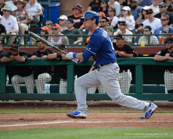 Los Angeles Dodger Cody Bellinger during game against the San Francisco Giants Sunday, March 6, 2016 at Scottsdale Stadium in Scottsdale, Arizona.
