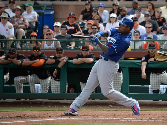 Los Angeles Dodger Carl Crawford singles during game against the San Francisco Giants Sunday, March 6, 2016 at Scottsdale Stadium in Scottsdale, Arizona.