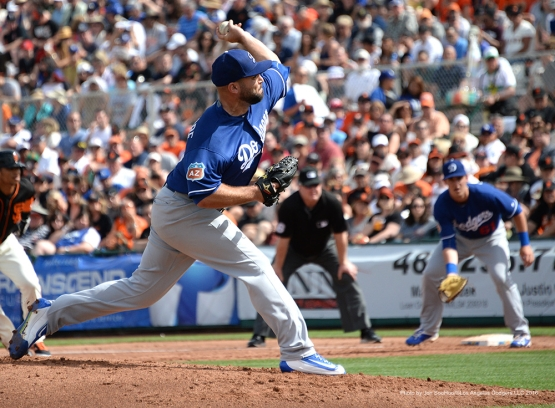 Los Angeles Dodger Adam Liberatore pitches during game against the San Francisco Giants Sunday, March 6, 2016 at Scottsdale Stadium in Scottsdale, Arizona.