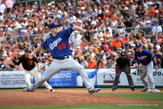 Los Angeles Dodgers Ross Stripling pitches during game against the San Francisco Giants Sunday, March 6, 2016 at Scottsdale Stadium in Scottsdale, Arizona.