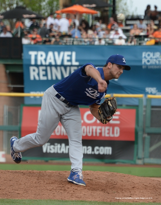 Los Angeles Dodger Chase De Jong pitches during game against the San Francisco Giants Sunday, March 6, 2016 at Scottsdale Stadium in Scottsdale, Arizona.