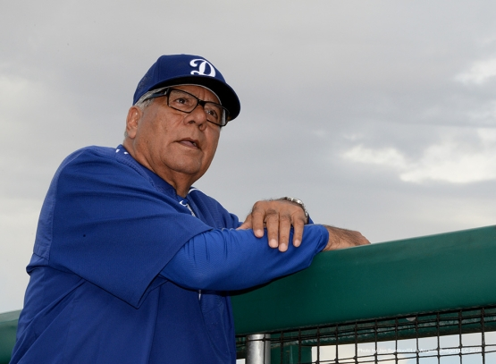 Los Angeles Dodger Pat Corrales watches the game against the San Francisco Giants Sunday, March 6, 2016 at Scottsdale Stadium in Scottsdale, Arizona.