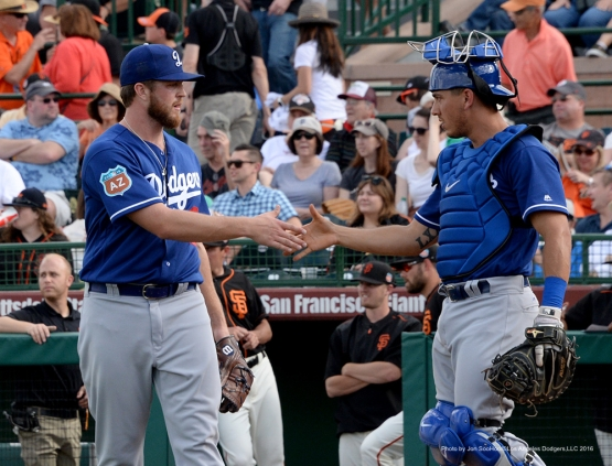 Los Angeles Dodgers Logan Bawcom and Austin after beating the  San Francisco Giants 5-2 Sunday, March 6, 2016 at Scottsdale Stadium in Scottsdale, Arizona.