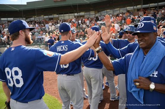 Los Angeles Dodgers  beat the San Francisco Giants 5-2 Sunday, March 6, 2016 at Scottsdale Stadium in Scottsdale, Arizona.
