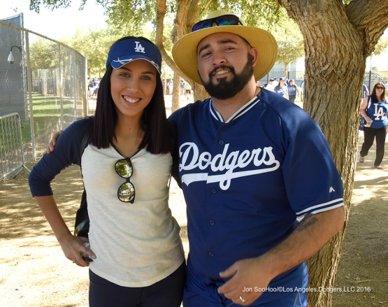 Great Los Angeles Dodgers fans during workout Saturday, March 19,2016 at Camelback Ranch-Glendale in Phoenix, Arizona.