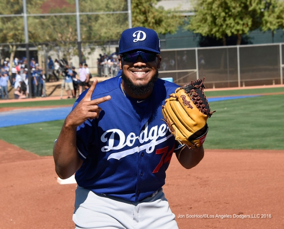 Los Angeles Dodgers Kenley Jansen during workout Saturday, March 19,2016 at Camelback Ranch-Glendale in Phoenix, Arizona.