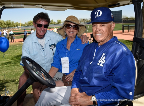 Los Angeles Dodgers Maury Wills and friends during workout Saturday, March 19,2016 at Camelback Ranch-Glendale in Phoenix, Arizona.