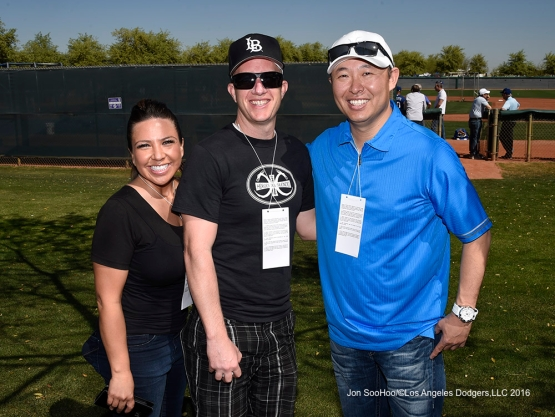 Great Los Angeles Dodger fans during workout Saturday, March 19,2016 at Camelback Ranch-Glendale in Phoenix, Arizona.