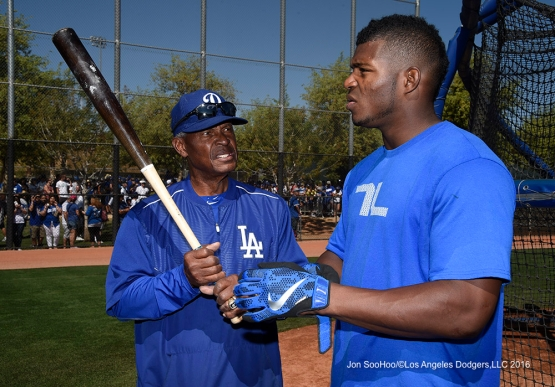 Los Angeles Dodgers Manny Mota with Yasiel Puig during workout Saturday, March 19,2016 at Camelback Ranch-Glendale in Phoenix, Arizona.