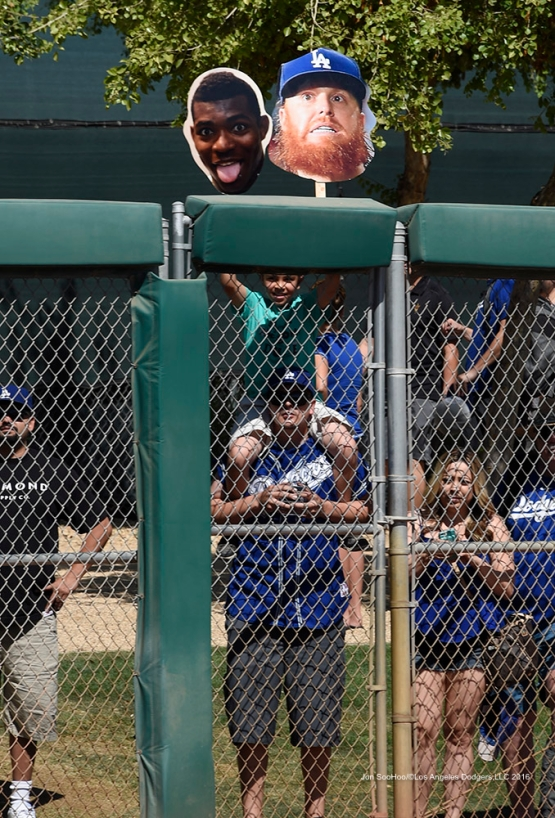 Los Angeles Dodgers Yasiel Puig and Justin Turner in the house during workout Saturday, March 19,2016 at Camelback Ranch-Glendale in Phoenix, Arizona.