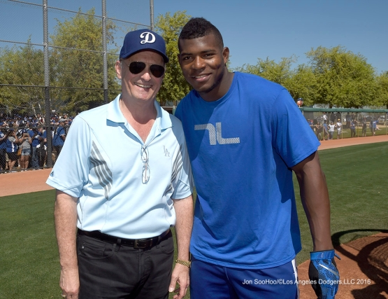 Los Angeles Dodgers Stan Kasten and Yasiel Puig during workout Saturday, March 19,2016 at Camelback Ranch-Glendale in Phoenix, Arizona.