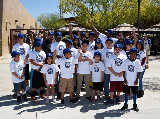 Los Angeles Dodgers fans pose during game against the Chicago White Sox Saturday, March 19,2016 at Camelback Ranch-Glendale in Phoenix, Arizona.