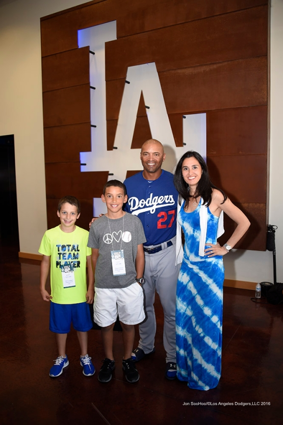 Los Angeles Dodgers George Lombard family during game against the Chicago White Sox Saturday, March 19,2016 at Camelback Ranch-Glendale in Phoenix, Arizona.
