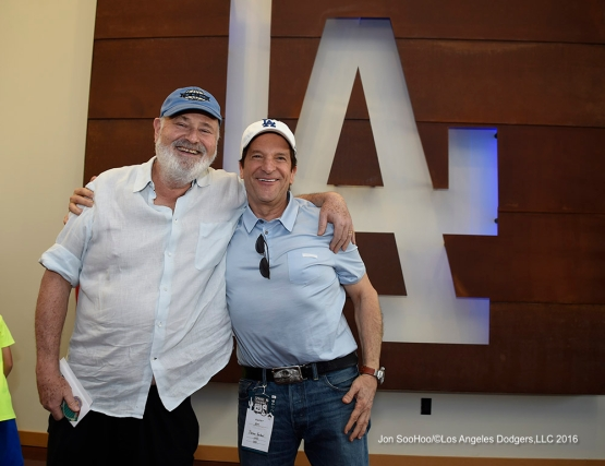 Rob Reiner and Peter Guber prior to Los Angeles Dodgers game against the Chicago White Sox Saturday, March 19,2016 at Camelback Ranch-Glendale in Phoenix, Arizona.