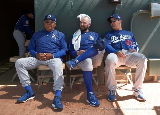 Los Angeles Dodgers Pat Corrales, Josh Bard and Bill Haselman during game against the Chicago White Sox Saturday, March 19,2016 at Camelback Ranch-Glendale in Phoenix, Arizona.