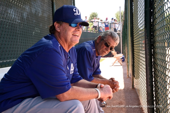 Los Angeles Dodgers Rick Honeycutt and Steve Yeager sit in the bullpen during game against the Chicago White Sox Saturday, March 19,2016 at Camelback Ranch-Glendale in Phoenix, Arizona.