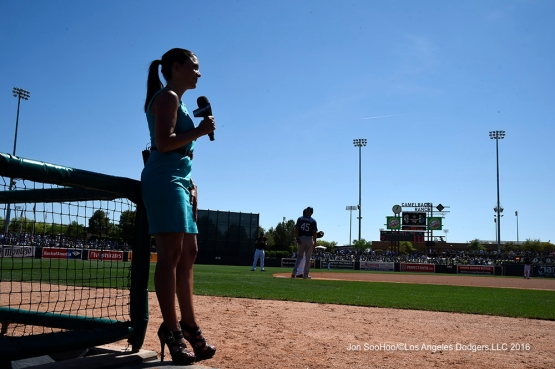 SportsNetLA's Alana Rizzo during Los Angeles Dodgers game against the Chicago White Sox Saturday, March 19,2016 at Camelback Ranch-Glendale in Phoenix, Arizona.