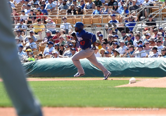 Los Angeles Dodgers Howie Kendrick doubles during game against the Chicago White Sox Saturday, March 19,2016 at Camelback Ranch-Glendale in Phoenix, Arizona.