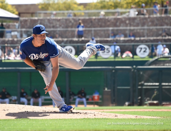 Los Angeles Dodgers Clayton Kershaw during game against the Chicago White Sox Saturday, March 19,2016 at Camelback Ranch-Glendale in Phoenix, Arizona.
