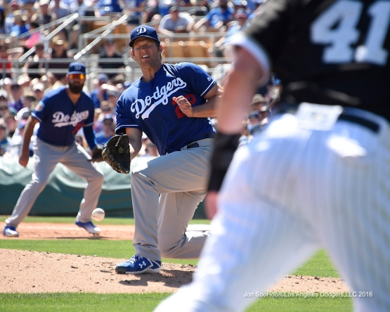 Los Angeles Dodgers Clayton Kershaw in action during game against the Chicago White Sox Saturday, March 19,2016 at Camelback Ranch-Glendale in Phoenix, Arizona.