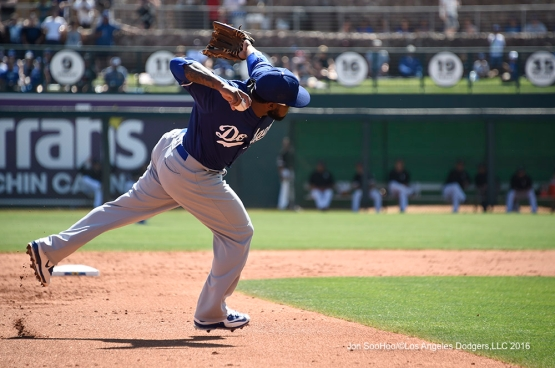 Los Angeles Dodgers Howie Kendrick during game against the Chicago White Sox Saturday, March 19,2016 at Camelback Ranch-Glendale in Phoenix, Arizona.