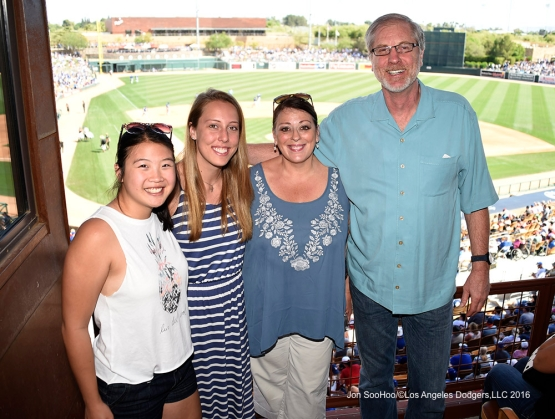 Los Angeles Dodgers Bob Wolfe and family during game against the Chicago White Sox Saturday, March 19,2016 at Camelback Ranch-Glendale in Phoenix, Arizona.