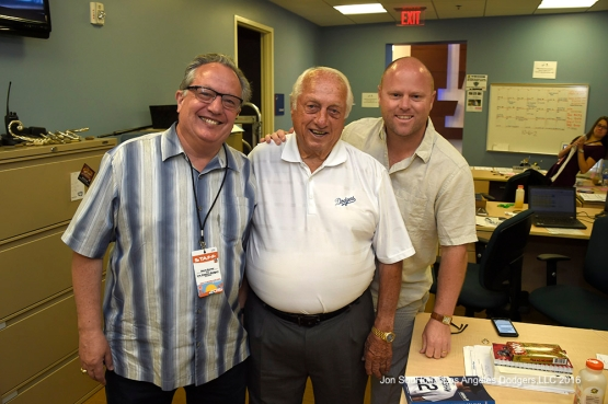Los Angeles Dodgers Tommy Lasorda with Steve Brener and Colin Gunderson during workout Sunday, March 20, 2016 at Camelback Ranch-Glendale in Phoenix, Arizona.