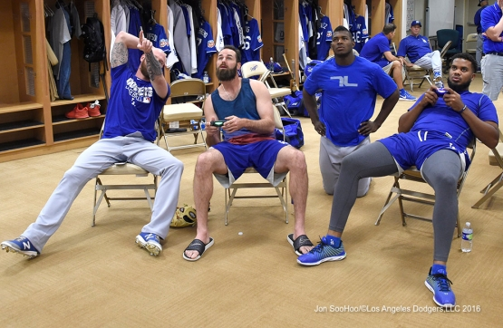 Los Angeles Dodgers prior to workout Sunday, March 20, 2016 at Camelback Ranch-Glendale in Phoenix, Arizona.