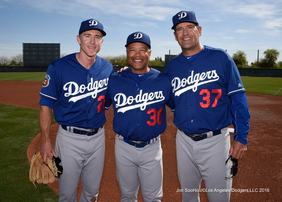 Former UCLA Bruins and Los Angeles Dodgers Chase Utley, Dave Roberts and Bill Haselman during workout Sunday, March 20, 2016 at Camelback Ranch-Glendale in Phoenix, Arizona.