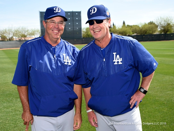 Los Angeles Dodgers Greg Maddux and Rick Honeycutt during workout Sunday, March 20, 2016 at Camelback Ranch-Glendale in Phoenix, Arizona.