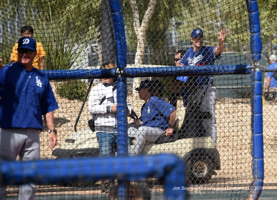 Los Angeles Dodgers Clayton Kershaw waves to the masses during workout Sunday, March 20, 2016 at Camelback Ranch-Glendale in Phoenix, Arizona.