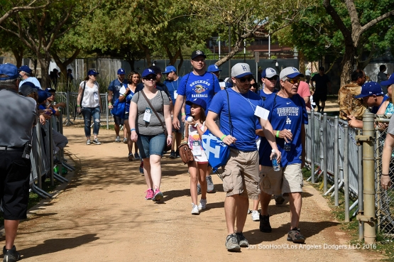 UPS visits Los Angeles Dodgers workout Sunday, March 20, 2016 at Camelback Ranch-Glendale in Phoenix, Arizona.