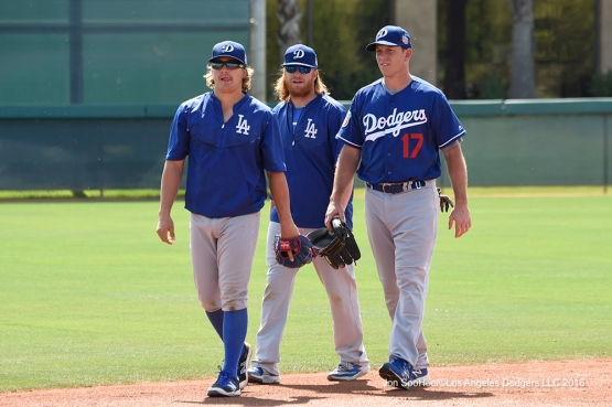 Los Angeles Dodgers Kike Hernandez, Justin Turner and A.J. Ellis during workout Sunday, March 20, 2016 at Camelback Ranch-Glendale in Phoenix, Arizona.