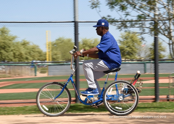 Los Angeles Dodgers Manny Mota during workout Sunday, March 20, 2016 at Camelback Ranch-Glendale in Phoenix, Arizona.